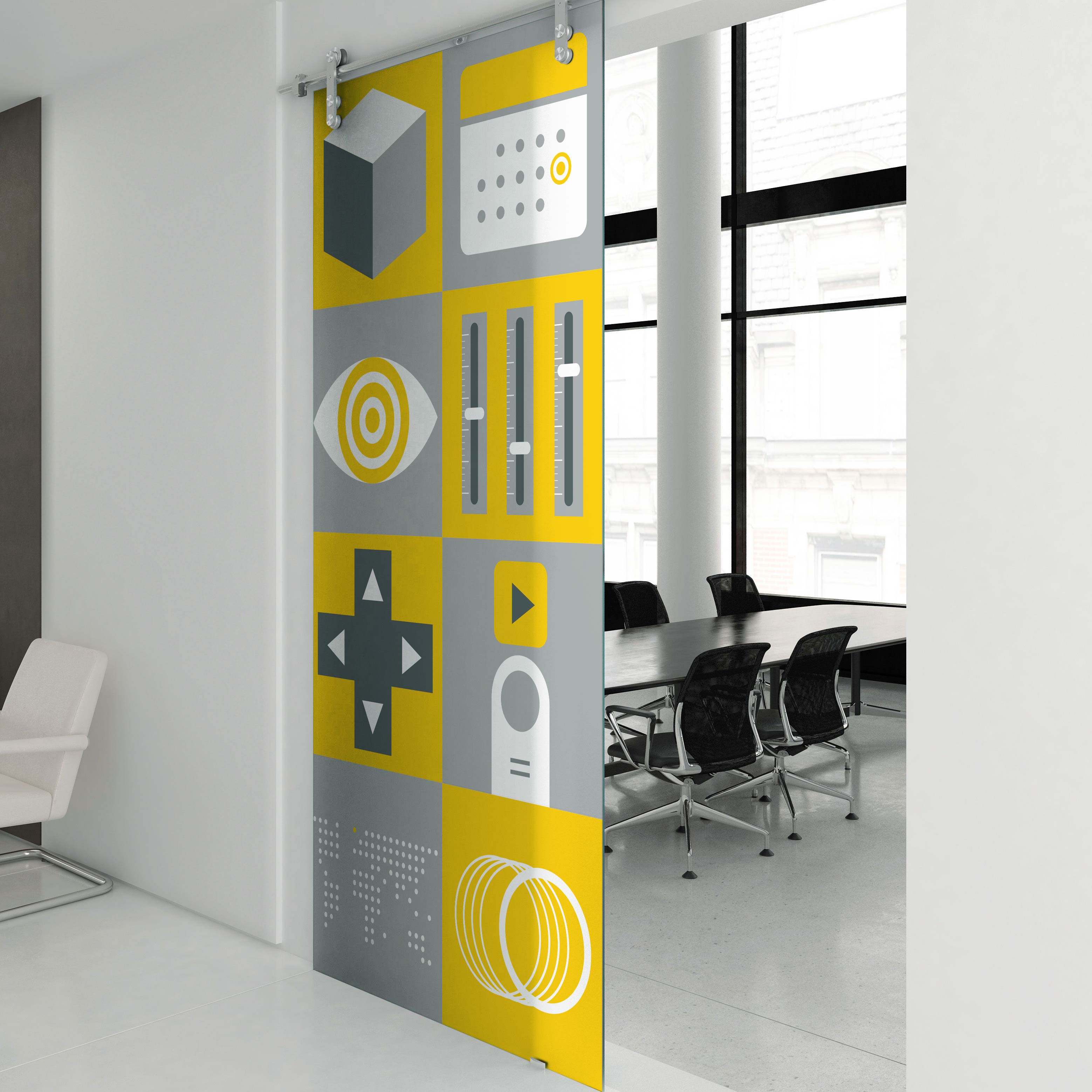 Interference Pattern animation studio internal environmental graphics designed by Monumentum Brands