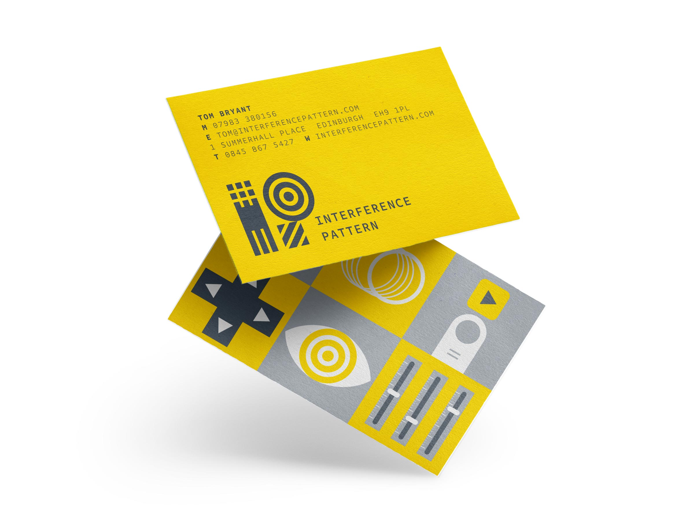 Interference Pattern animation studio business cards designed by Monumentum Brands